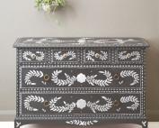 Bone inlay style drawers by Dominique Malacarne with Pearlescent Glaze image 6